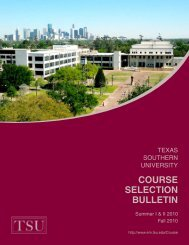 course selection bulletin - Texas Southern University: ::em.tsu.edu