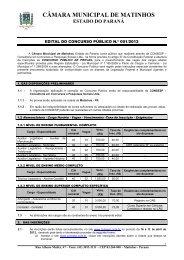 CÂMARA MUNICIPAL DE MATINHOS - Concursos no Brasil