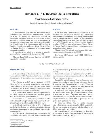Tumores GIST. Revisión de la literatura