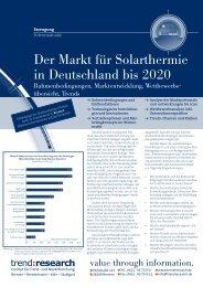 Der Markt für Solarthermie in Deutschland bis 2020 - trend:research