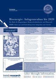 Bioenergie: Anlagenneubau bis 2020 - trend:research