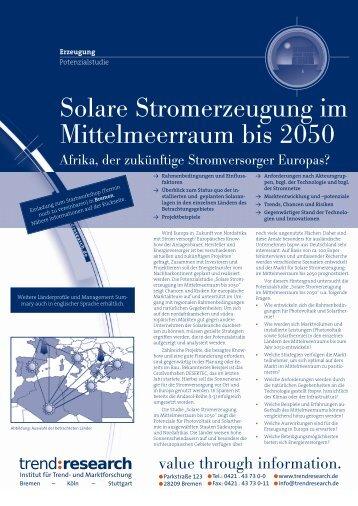 Solare Stromerzeugung im Mittelmeerraum bis 2050 - trend:research