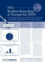 Kraftwerksneubau in Europa bis 2030 - trend:research