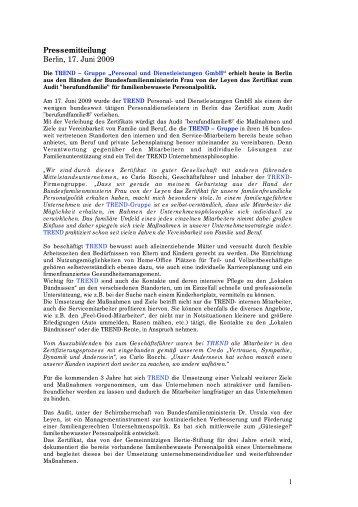 Pressemitteilung downloaden (.pdf, 52 kb) - Trend Personal