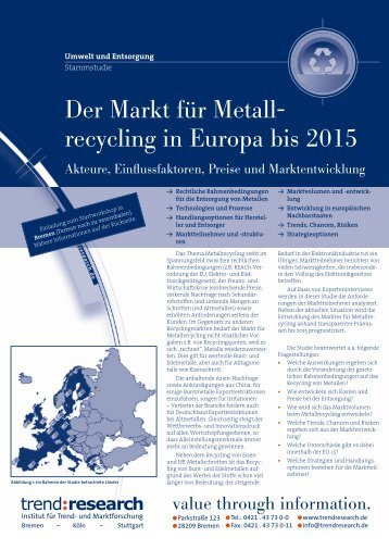 Der Markt für Metallrecycling in Europa bis 2015 - trend:research
