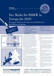 Der Markt für BHKW in Europa bis 2020 - trend:research