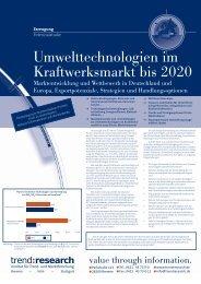 Umwelttechnologien im Kraftwerksmarkt bis 2020 - trend:research