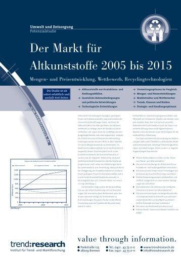 Der Markt für Altkunststoffe 2005 bis 2015 - trend:research