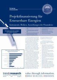 Projektfinanzierung für Erneuerbare Energien - trend:research