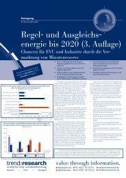 Regel- und Ausgleichs- energie bis 2020 (3. Auflage) - trend:research