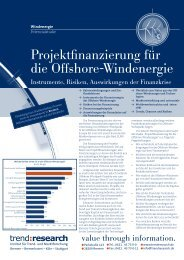 Projektfinanzierung für die Offshore-Windenergie - trend:research