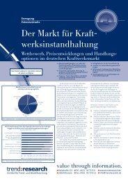 Der Markt für Kraftwerksinstandhaltung - trend:research