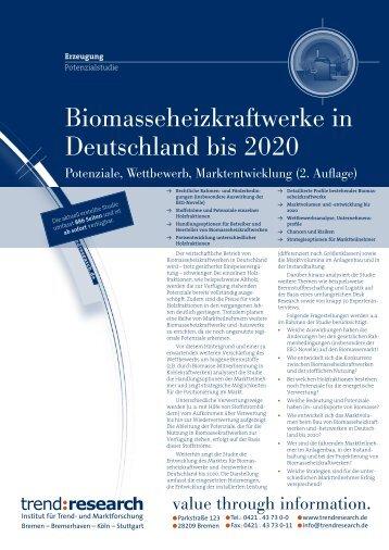 Biomasseheizkraftwerke in Deutschland bis 2020 (2 ... - trend:research