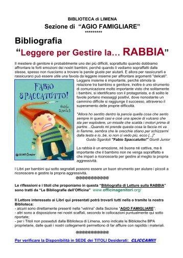 """Bibliografia """"Leggere per Gestire la… RABBIA"""" - Comune di Limena"""