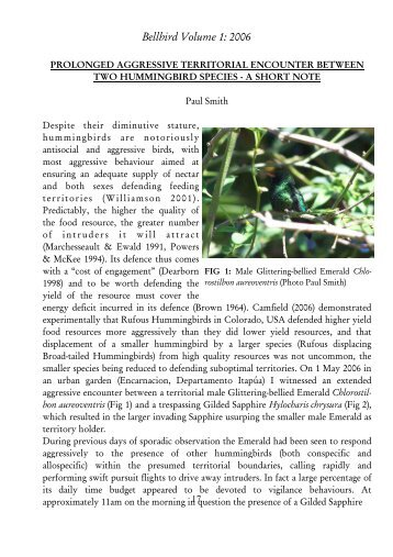 Smith P 2006. Prolonged Aggressive Territorial ... - FAUNA Paraguay