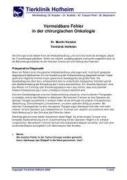 Vermeidbare Fehler in der chirurgischen ... - Tierklinik Hofheim