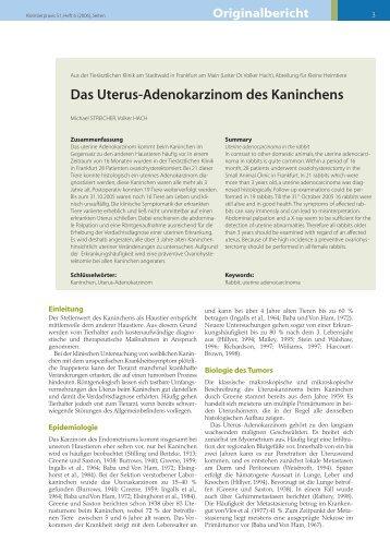 Das Uterus-Adenokarzinom des Kaninchens - Tierklinik am ...