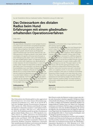 Das Osteosarkom des distalen Radius beim Hund Erfahrungen mit ...