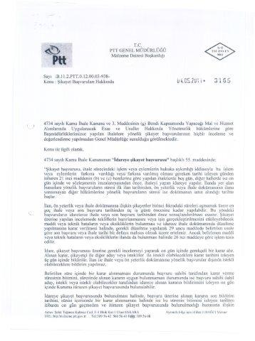 04.05.2011 - Malzeme Dairesi Başkanlığı - PTT