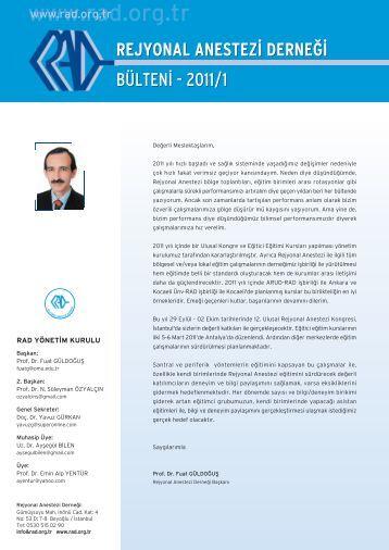 bülten‹ - 2011/1 - Rejyonal Anestezi Derneği