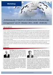 """Workshop """"Entlastung der IT durch ein strukturiertes ... - Trigonum.de"""