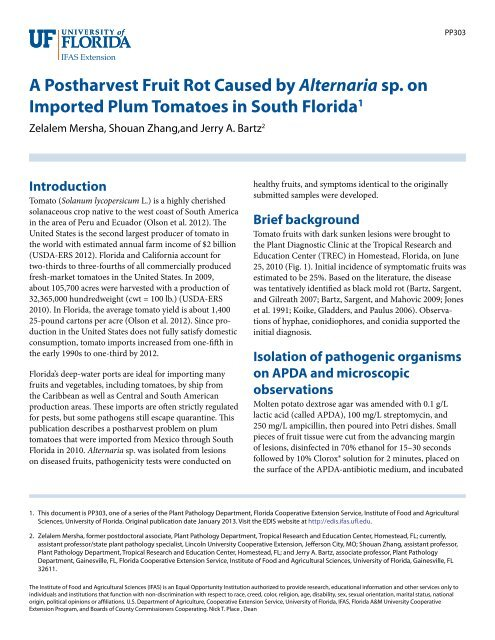 A Postharvest Fruit Rot Caused by Alternaria sp  on Imported