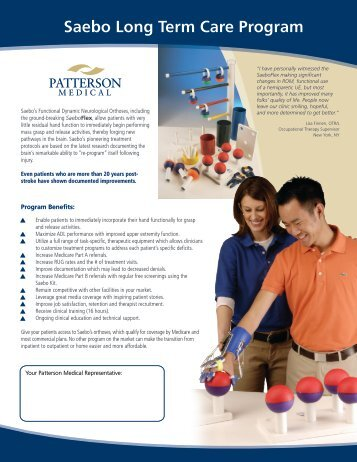 Saebo Long Term Care Program - Patterson Medical