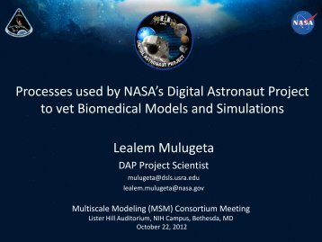The Digital Astronaut Project Applying computational modeling and ...