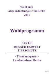 Wahlprogramm der TIERSCHUTZPARTEI - Partei Mensch Umwelt ...