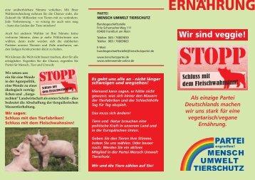 """Unser Faltblatt """"Ernährung"""" - Partei Mensch Umwelt Tierschutz"""