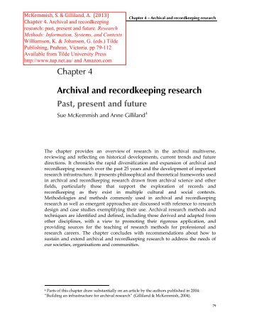 Archival and recordkeeping research