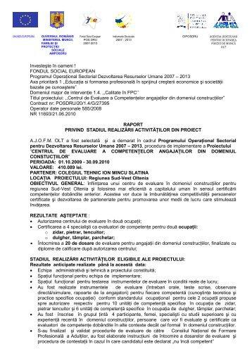 raport activitati proiect 2010 - AJOFM Olt