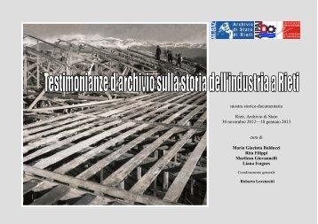 Scheda su alcune industrie reatine - Archivio di Stato di Rieti