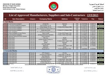 List of Approved Manufacturers, Suppliers and Sub-Contractors 05 ...