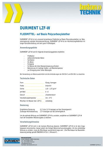 DURIMENT LZF-W - Betontechnik