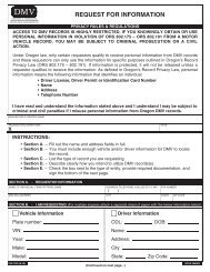request for information - Oregon Department of Transportation ...