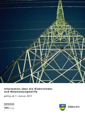 Information über die Elektrizitäts- und Netznutzungstarife - Arni