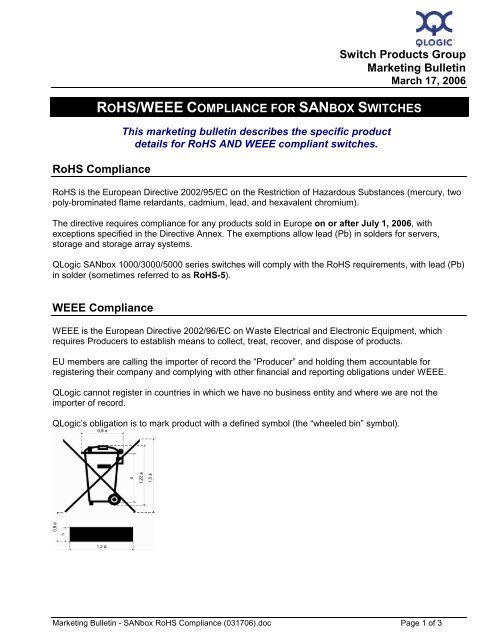 rohs/weee compliance for sanbox switches