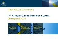 1st Annual Client Servicer Forum - Presentation - Hatfield Philips