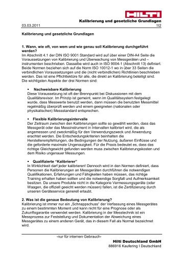 Kalibrierung und gesetzliche Grundlagen 03.03.2011 1I2 - Hilti ...