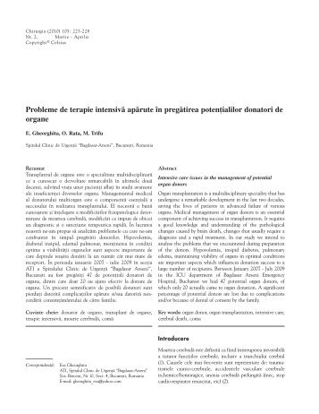 Probleme de terapie intensivã apãrute în ... - Revista Chirurgia