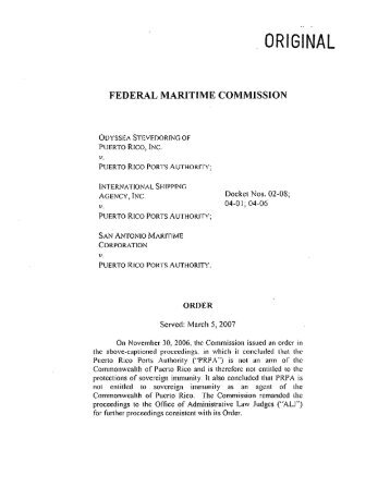 to Stay Proceedings - Federal Maritime Commission