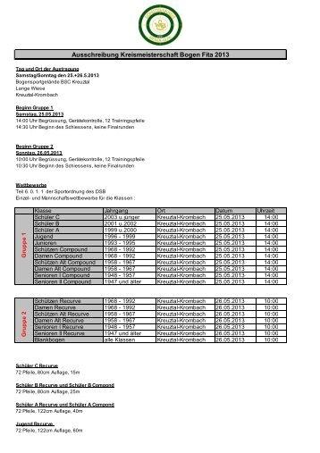 Ausschreibung Kreismeisterschaft Bogen Fita 2013