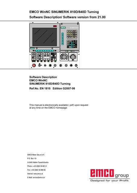 Sinumerik 810d/840d: emco werkzeugmaschinen drehmaschinen.
