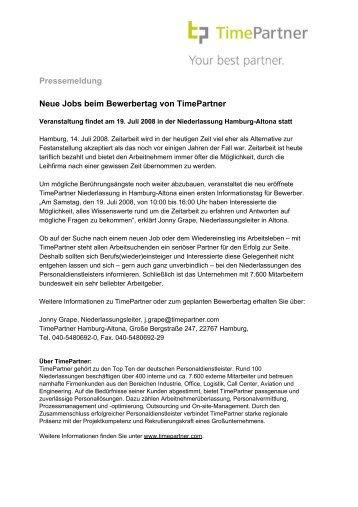 Pressemeldung Neue Jobs beim Bewerbertag von TimePartner