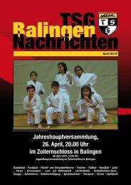 Jahreshauptversammlung, 26. April, 20.00 Uhr im ... - TSG Balingen