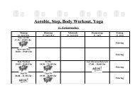 Aerobic, Step, Body Workout, Yoga (1. Ferienwoche)