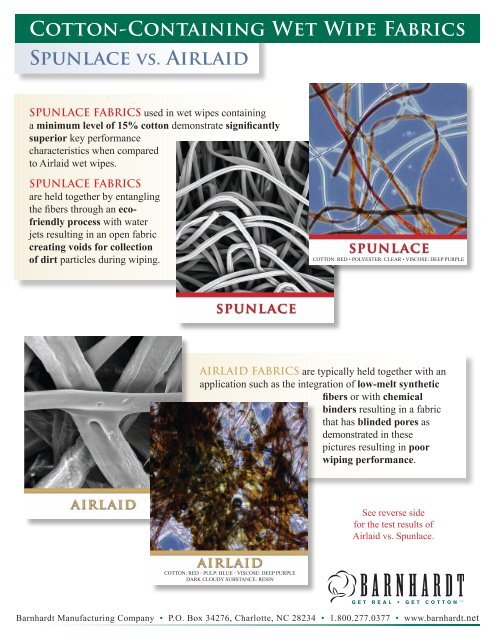 Cotton-Containing Wet Wipe Fabrics Spunlace vs. Airlaid