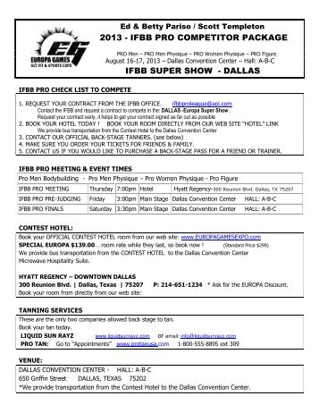 ifbb pro competitor package ifbb super show - dallas - Europa Expo