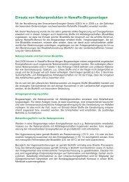 Einsatz von Nebenprodukten in NawaRo-Biogasanlagen